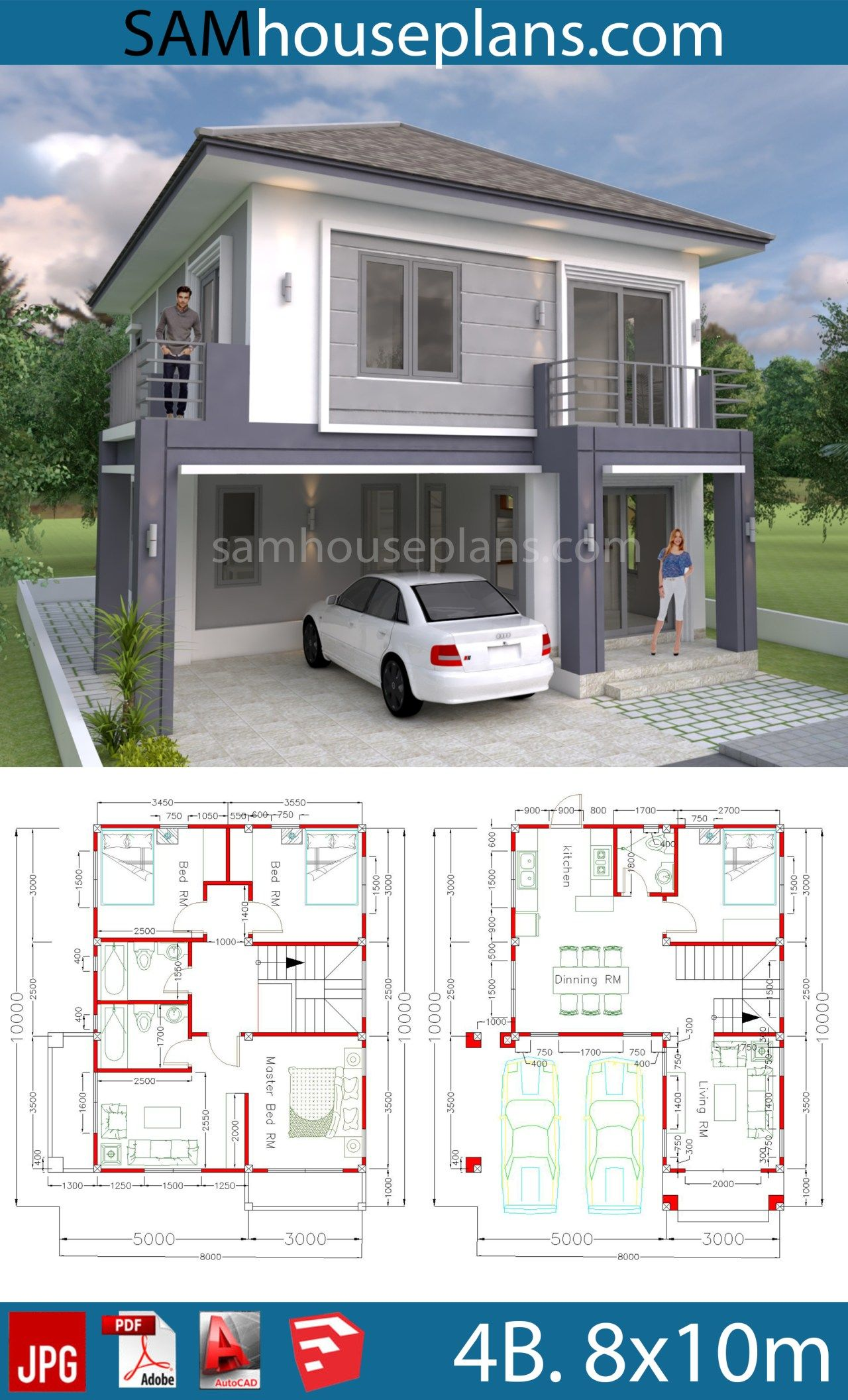 House Plans 8x10m With 4 Bedrooms Sam House Plans Small Modern House Plans 2 Storey House Design Duplex House Plans