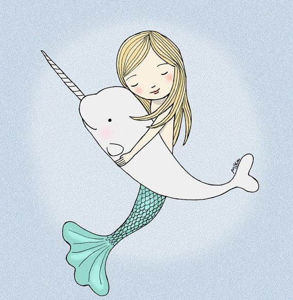 Mermaid Narwhal Illustration Print Instant Download DIY