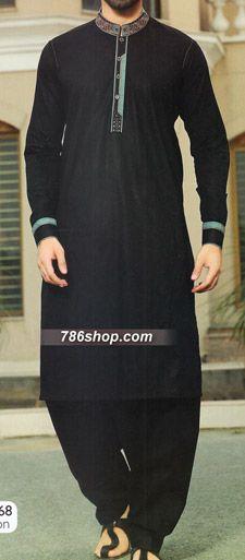 f1a42776b0 Black Shalwar Kameez Suit. Buy Men's Shalwar Kameez suits with latest  designs, custom made salwar kameez suits for men. Gent's shalwar kameez  dresses.