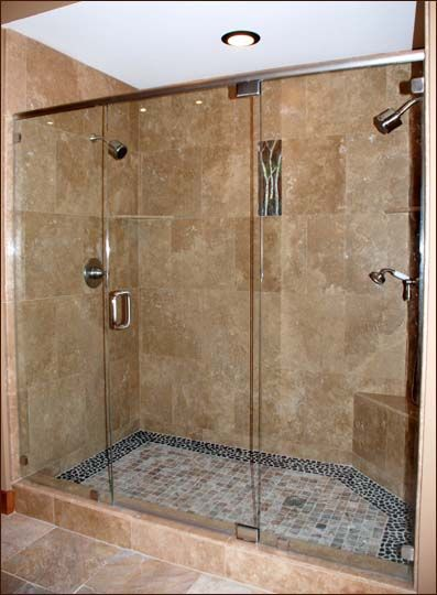 shower features two shower heads and plenty of arts and crafts