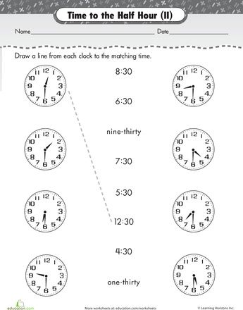 Worksheets On The Half Hour Time Match Up Math Rules Telling