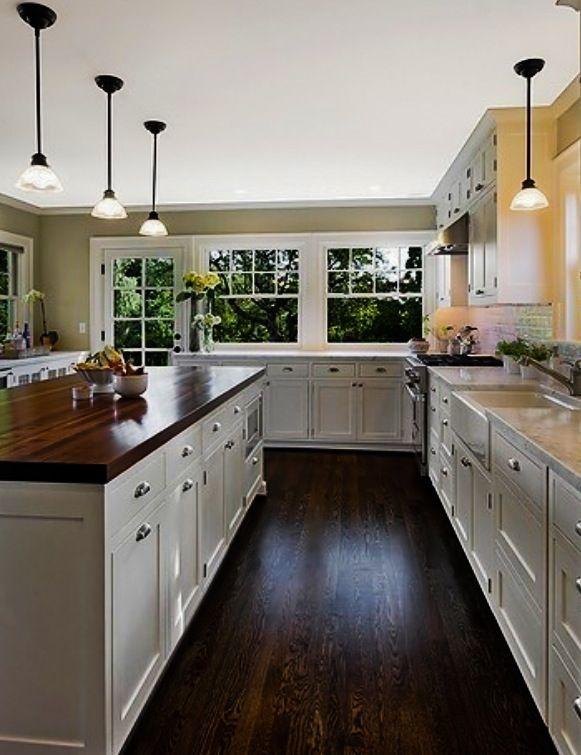 White Kitchen Dark Island Butcher Block : 2) dark wood floors and matching butcher block island Heavenly Homes: Interior White kitchen ...