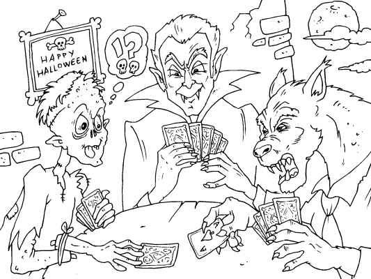 never play poker with a werewolf this funny monster coloring page featuring a zombie vampire and werewolf is kooky creepy halloween fun