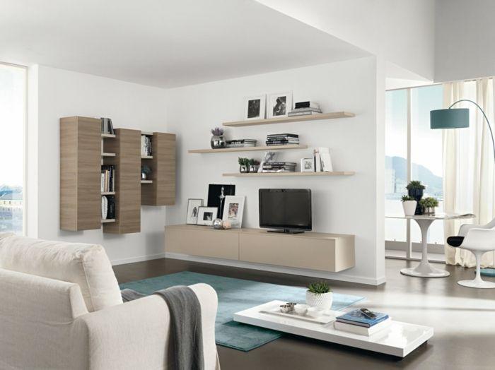 Wohnzimmer Einrichten Beispiele Blauer Teppich Stauraum Ideen Weisse Mobel