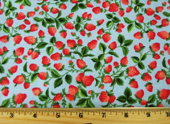 Classic Cottons Strawberry Vine Print in Blue 1940 Era - half yard