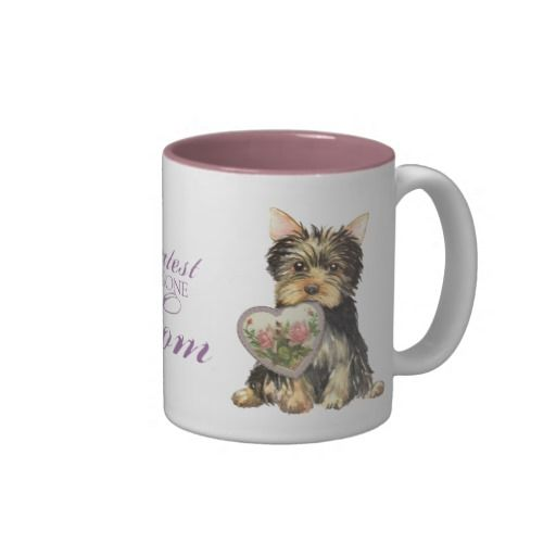 Yorkie Heart Mom Mugs