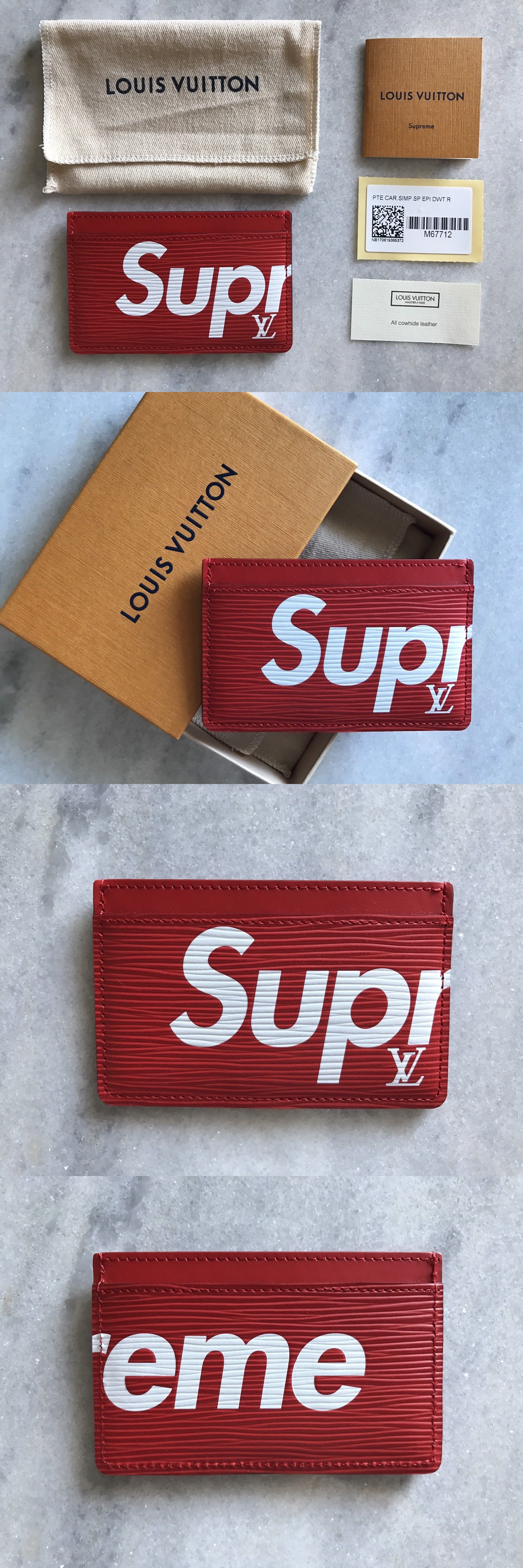 3144c4b0316ac Normal  Wallets 2996 Authentic Louis Vuitton X Supreme Card Holder Wallet  Red Epi Monogram Logo ...