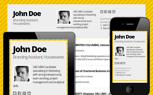 Bold Mobile friendly online Resume by Cloud CV (met