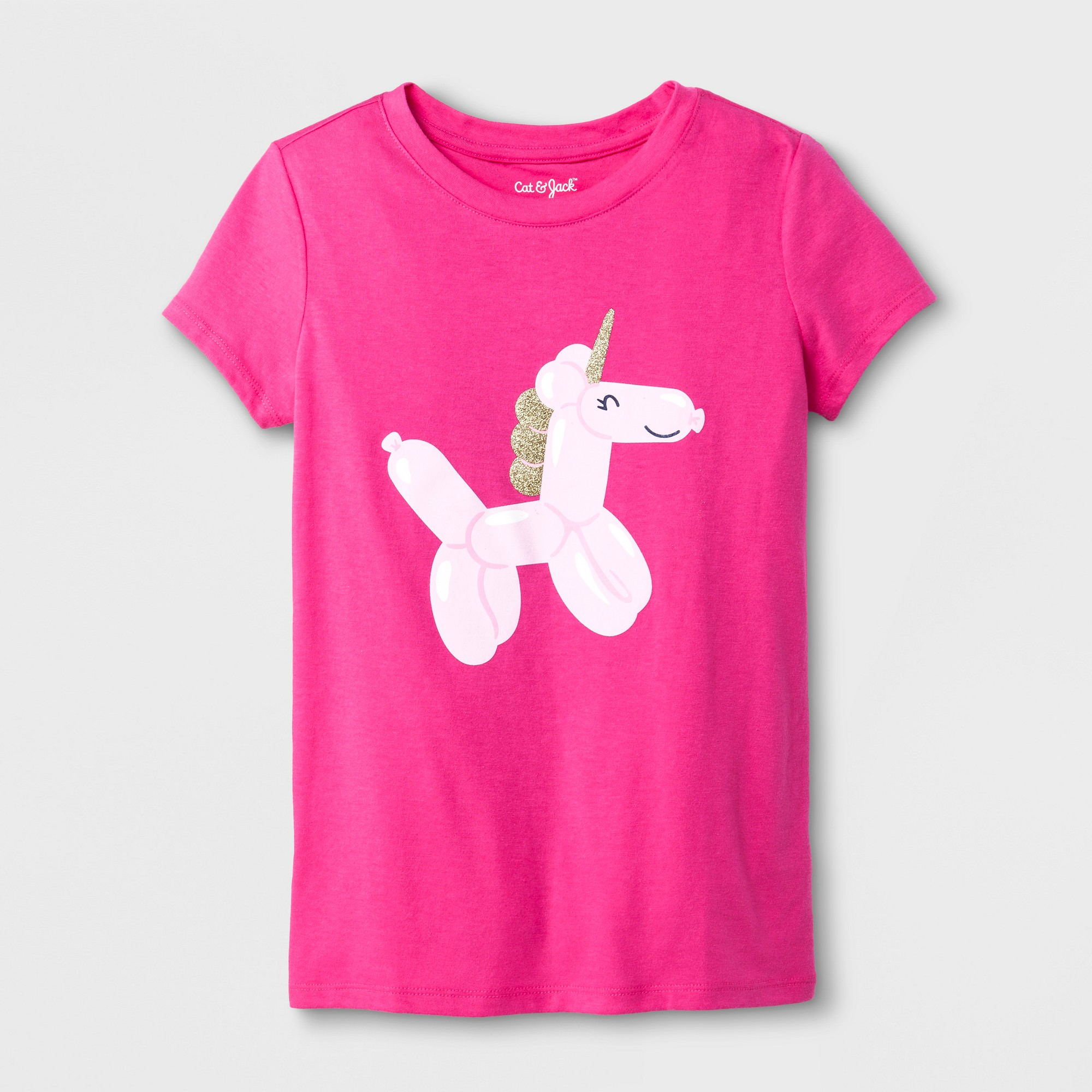 Rainbow Unicorn Poop Glitter Short-Sleeve Shirt Baby Girls