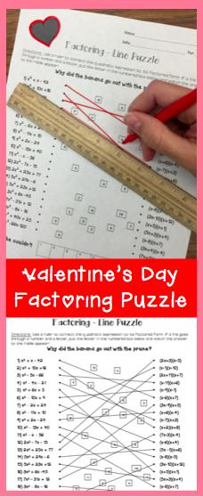 Algebra Valentines Day Puzzles  Algebra Activities and Math