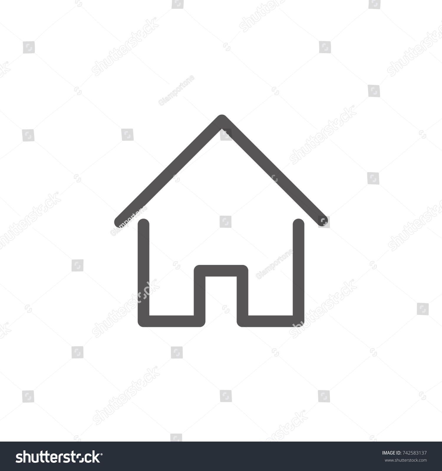 House Icon With Door Outline Design Vector Ad Paid Door Icon House Vector In 2020 Outline Designs Home Icon Vintage Logo Design