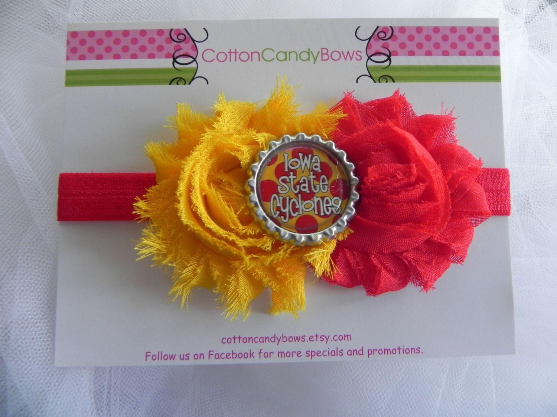 Iowa State Cyclones Bottlecap Shabby Flower Headband Red Yellow
