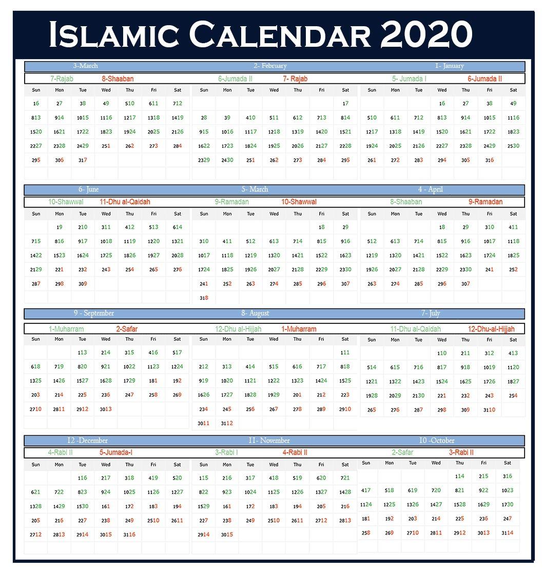 Extraordinary 2020 Calendar With Islamic Dates Islamic Calendar Hijri Calendar Calendar 2020
