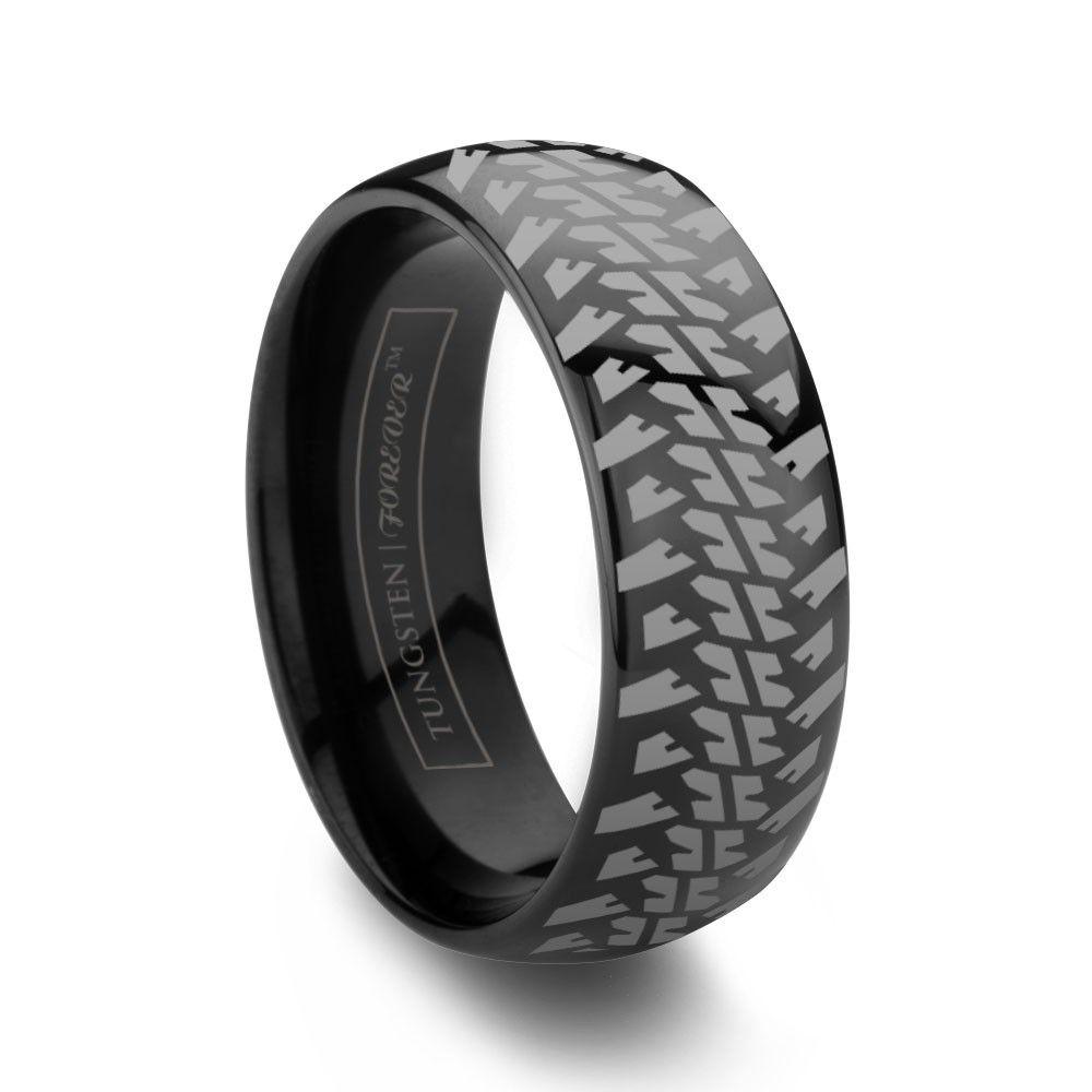 nitto 6mm / 8mm rugged tire tread ring black tungsten carbide