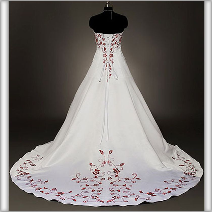 A-Line Embroidery Corset Wedding Dresses Empire Red And White ...