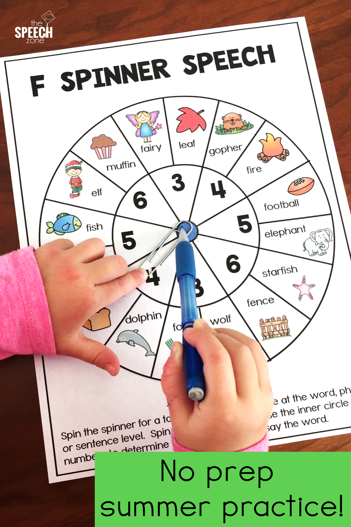 Spinner Speech Articulation Activity