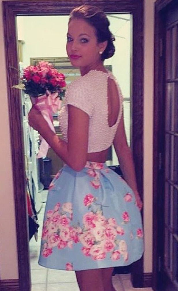 Sexy Two Piece Floral Cocktail/Homecoming Dress with Pearls ...
