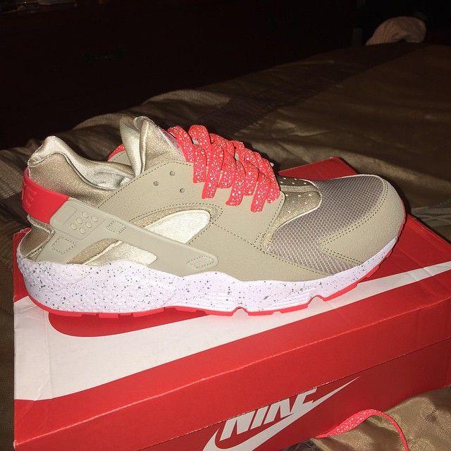 Nike Air Huarache Light Beige Laser Crimson With Infrared Glow Splatter Lace Swap Www Laceduplaces Com Shoe Laces Nike Air Huarache Sneakers