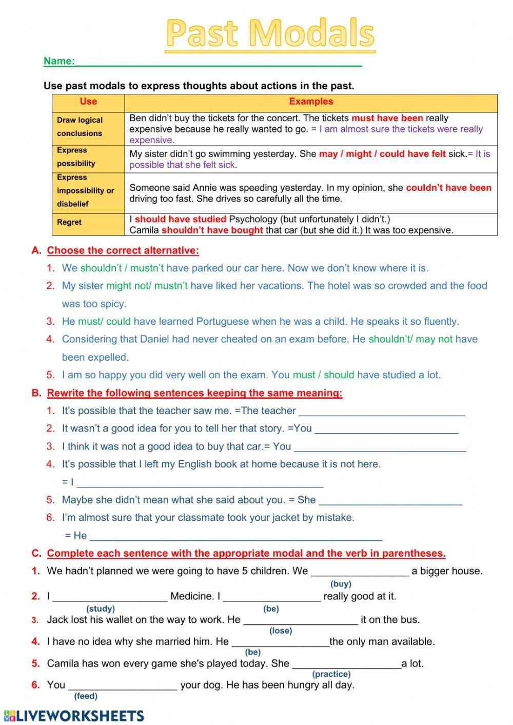 Modal Verbs Online Worksheet You Can Do The Exercises Online Or Download The Worksheet In 2020 Verb Worksheets English As A Second Language English Teaching Resources