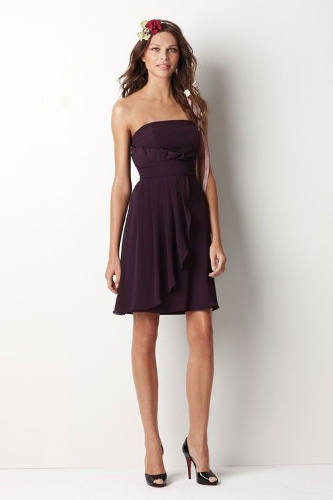 Strapless A-line with empire waist chiffon bridesmaid dress