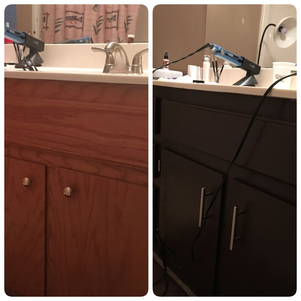 before and after paint bathroom cabinets sherwin williams