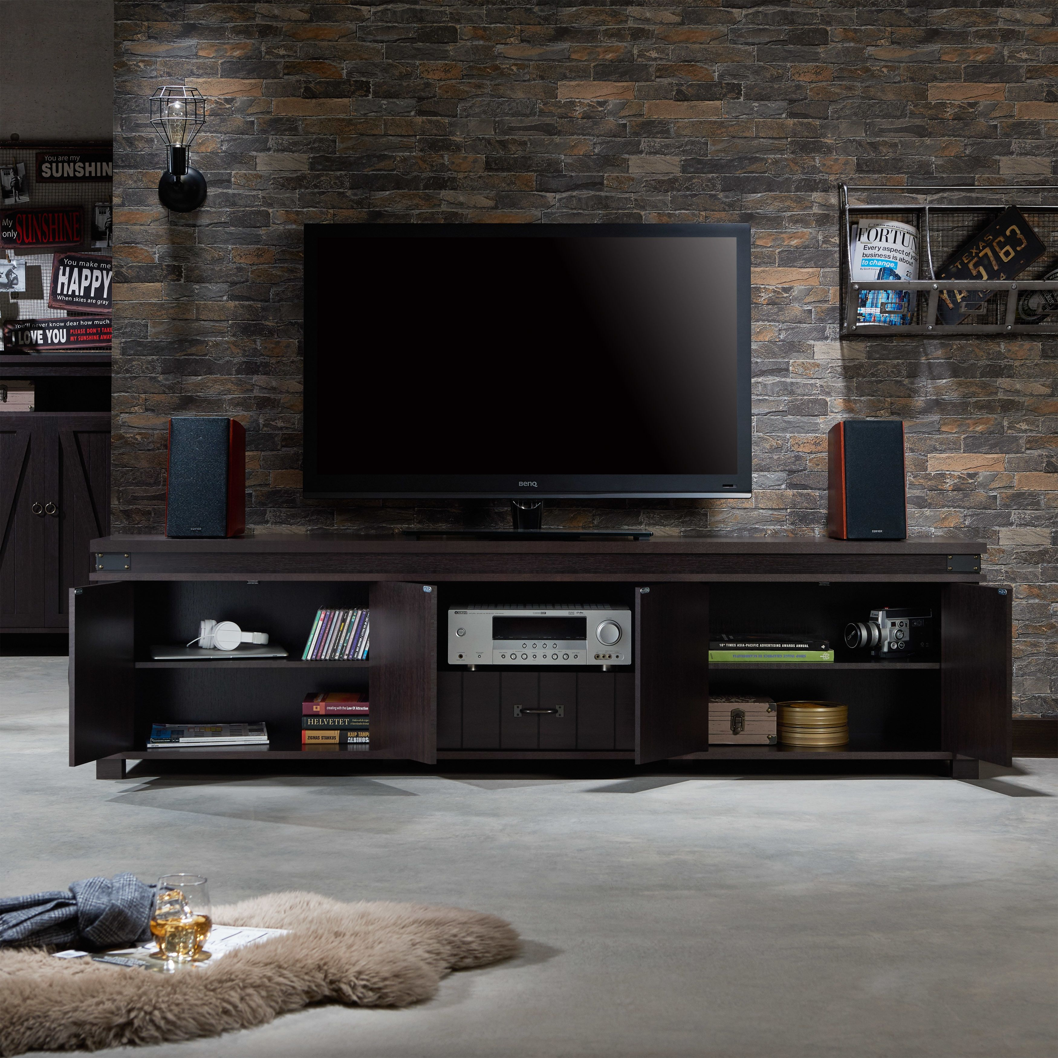 sports shoes 465e8 88981 Furniture of America Teglar Espresso Finish Wood 82-inch TV ...