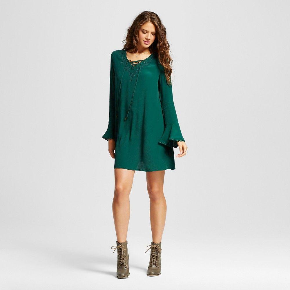 Womenus Laceup Dress with Embroidery Fern Green S  Xhilaration