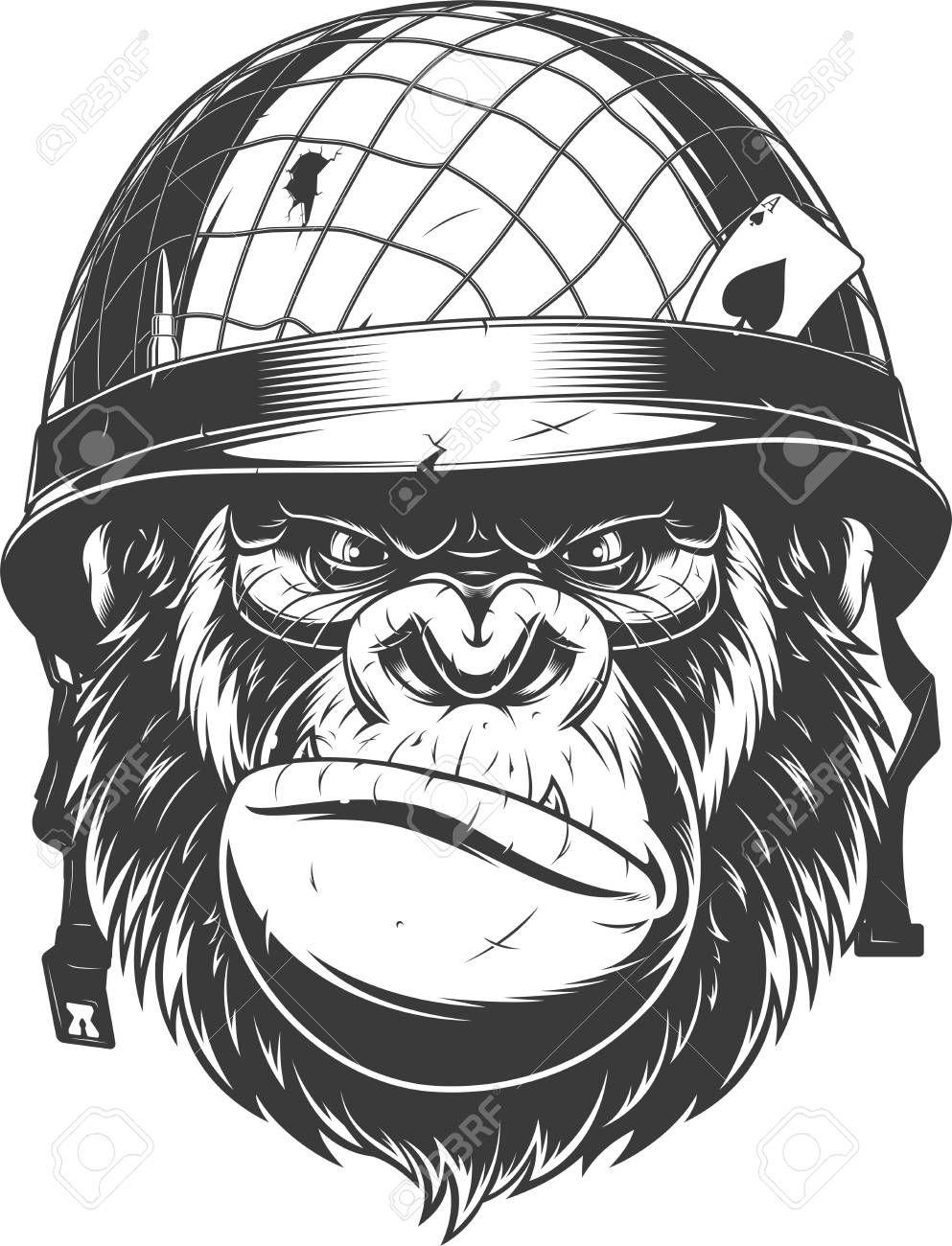 Vector Illustration Fierce Gorilla Wearing Military Helmet Monkey Art Gorillas Art Gorilla Tattoo