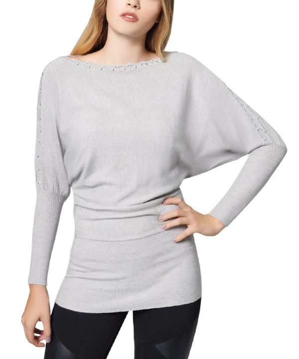 Look at this Gray Brass Stud Dolman Tunic Sweater on #zulily today ...