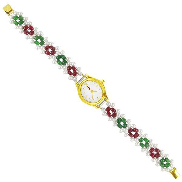 Jpearls Rich Multicoloured Pearl Watch