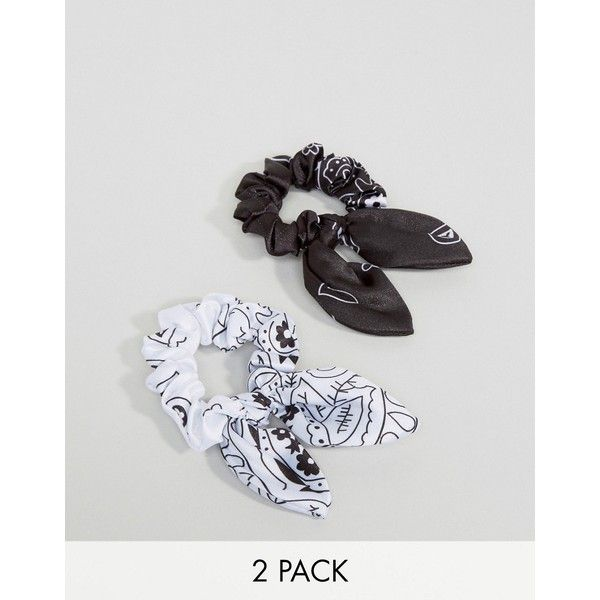 ASOS Pack Of 2 Mono Bandana Hair Scrunchies 79 NOK Liked On Polyvore