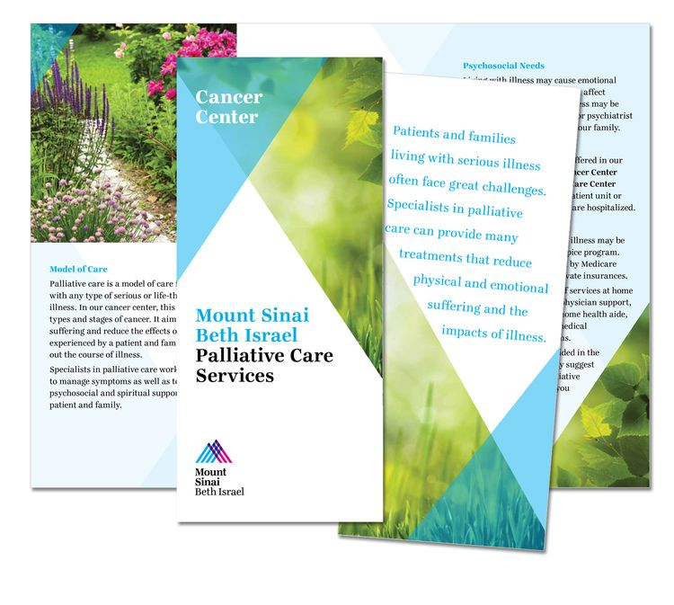 A brochure for the Palliative Care Services available at Mount - healthcare brochure