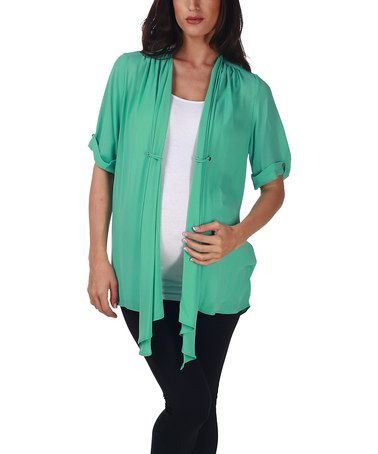 Love this Mint Green Sheer Maternity Cardigan - Women by PinkBlush ...
