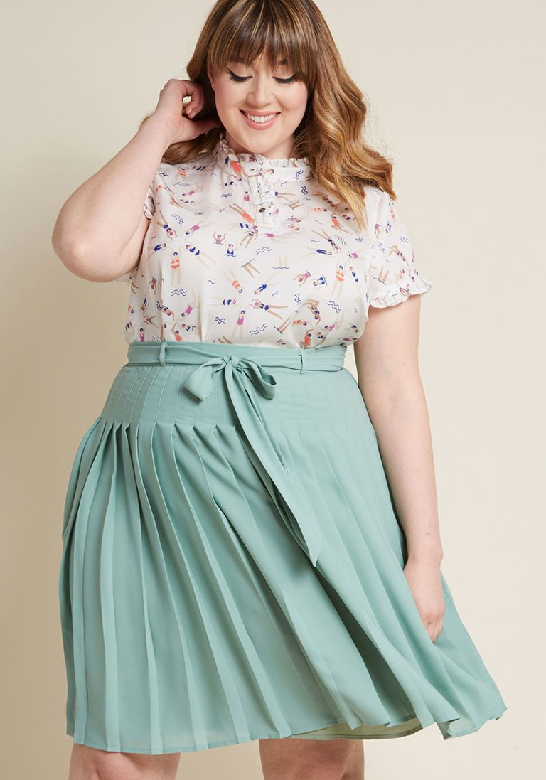 Purely Pretty Pleated Skirt in Sage in 4X by ModCloth ...