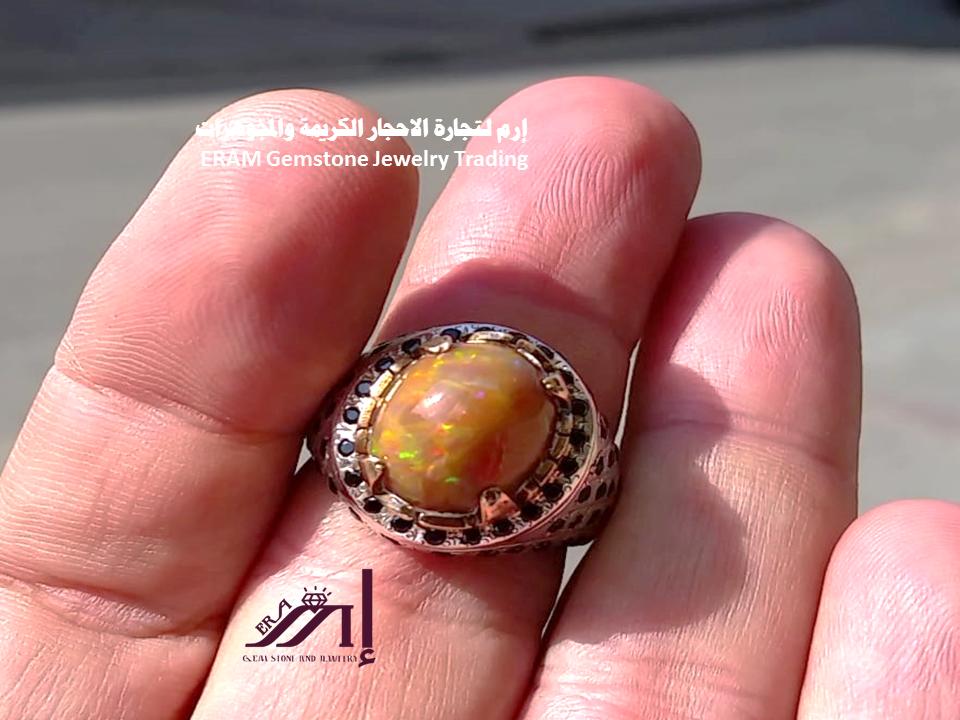 خاتم ملكي اوبال بني افريقي ناري طبيعي100 Opal للعرض Gemstone Jewelry Gemstones Jewelry