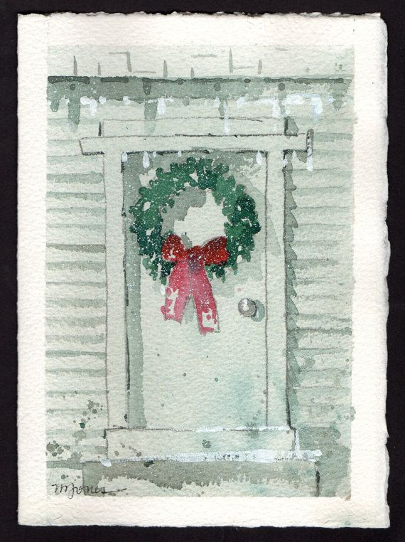 Christmas Card Artist.Beautiful Original Watercolor Christmas Card By Professional