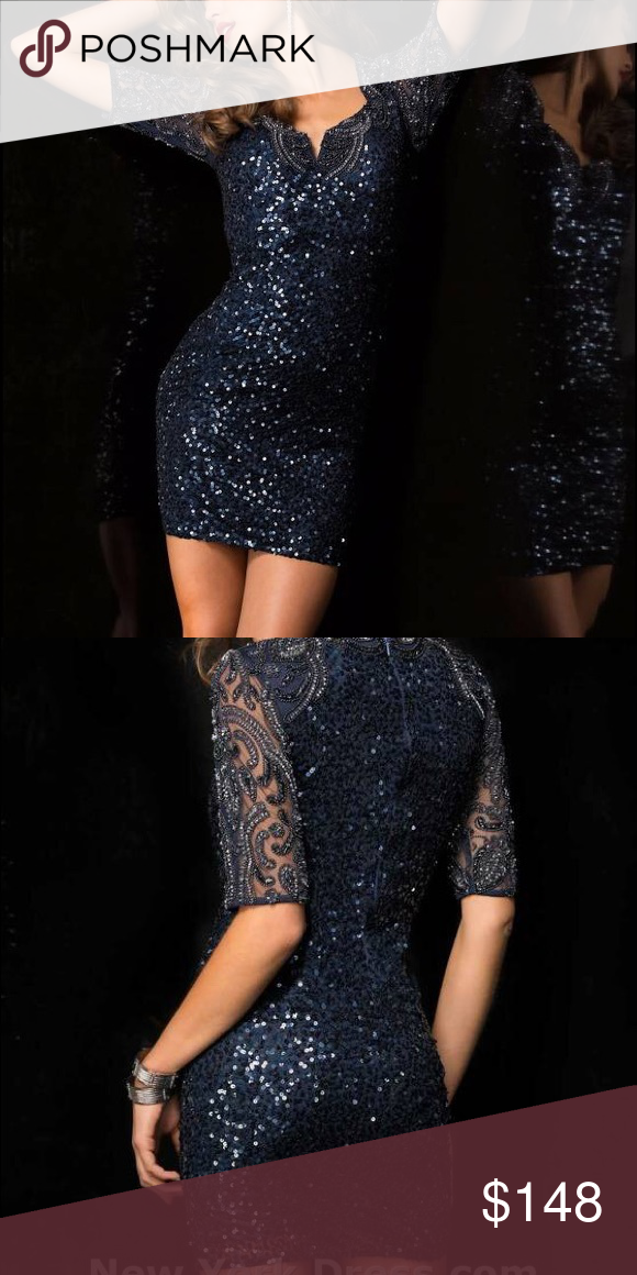 Color 48486 Cocktail Sequin Navy Dress Scala Style Dress zwqABxP7