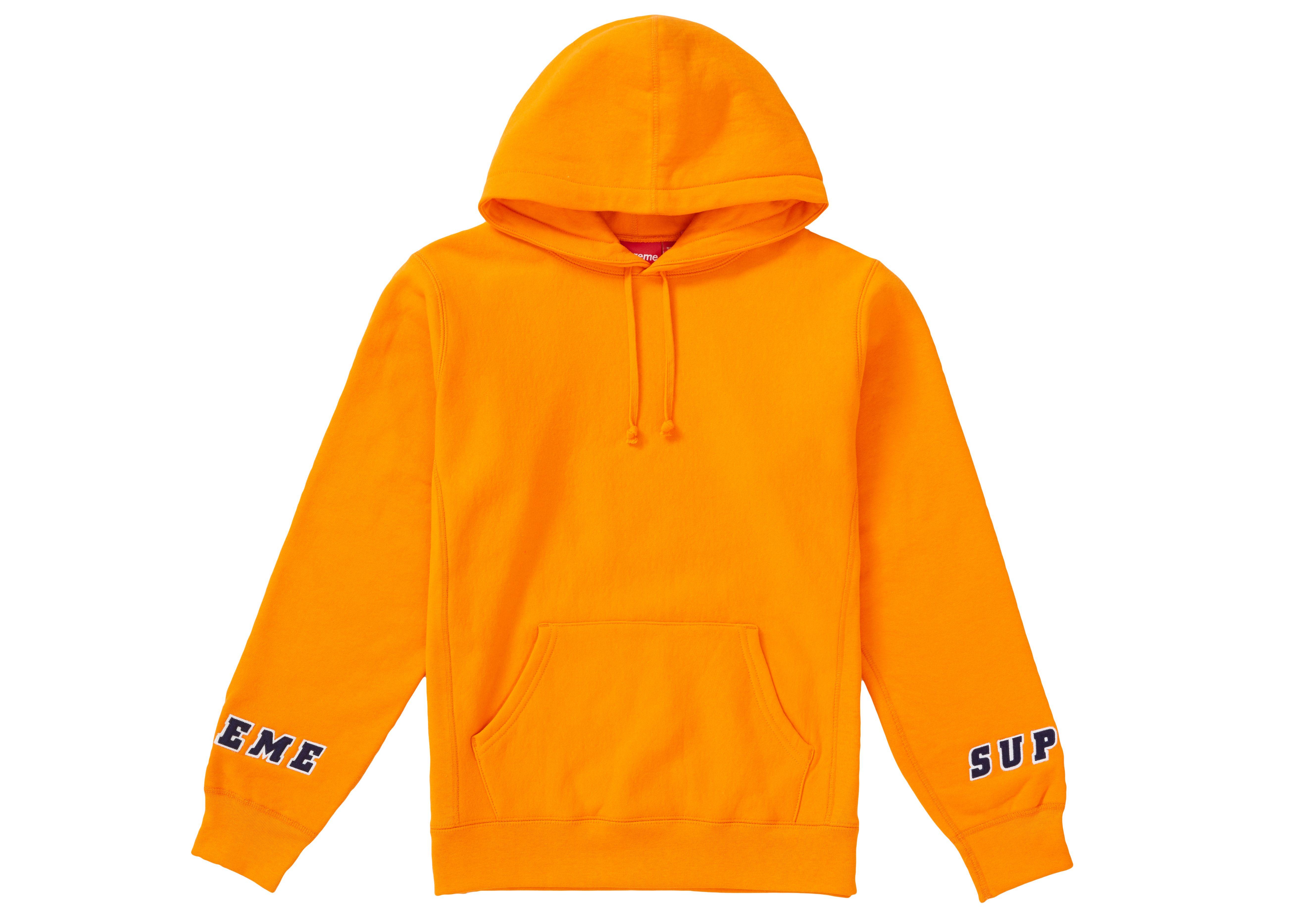 Supreme Wrist Logo Hooded Sweatshirt Orange Supreme Cloth Hooded Sweatshirts Sweatshirts T Shirts S [ 3734 x 5228 Pixel ]