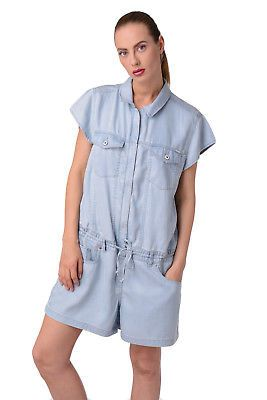 91e373b963c0 DIESEL Denim Playsuit Size S Blue Faded Short Sleeve Oversized DE-SADE RRP  €180