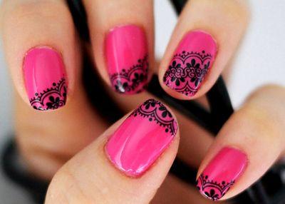 Pink/ Black Nail Art