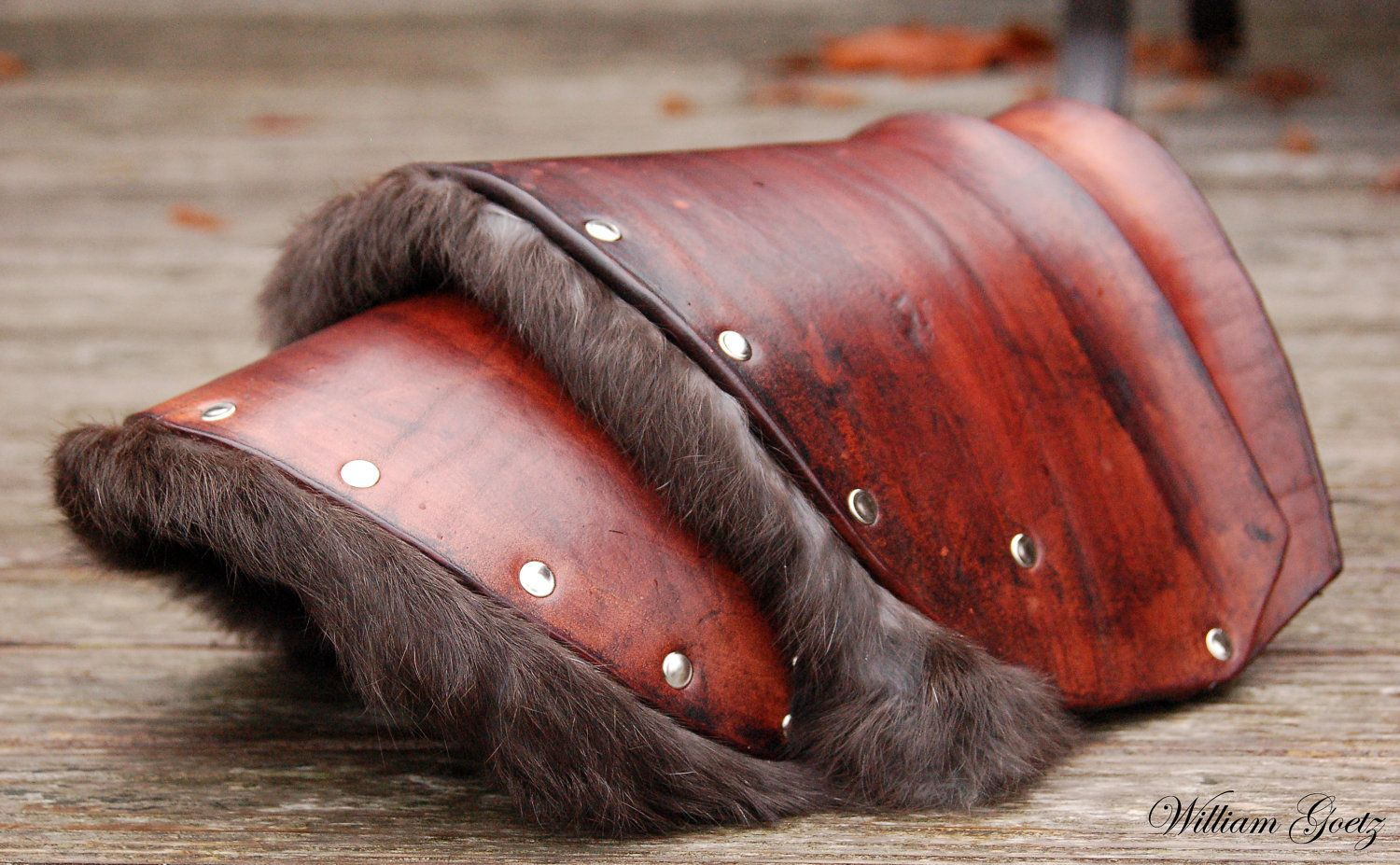 Fur-Lined Barbarian Leather Pauldron. $175.00, via Etsy.