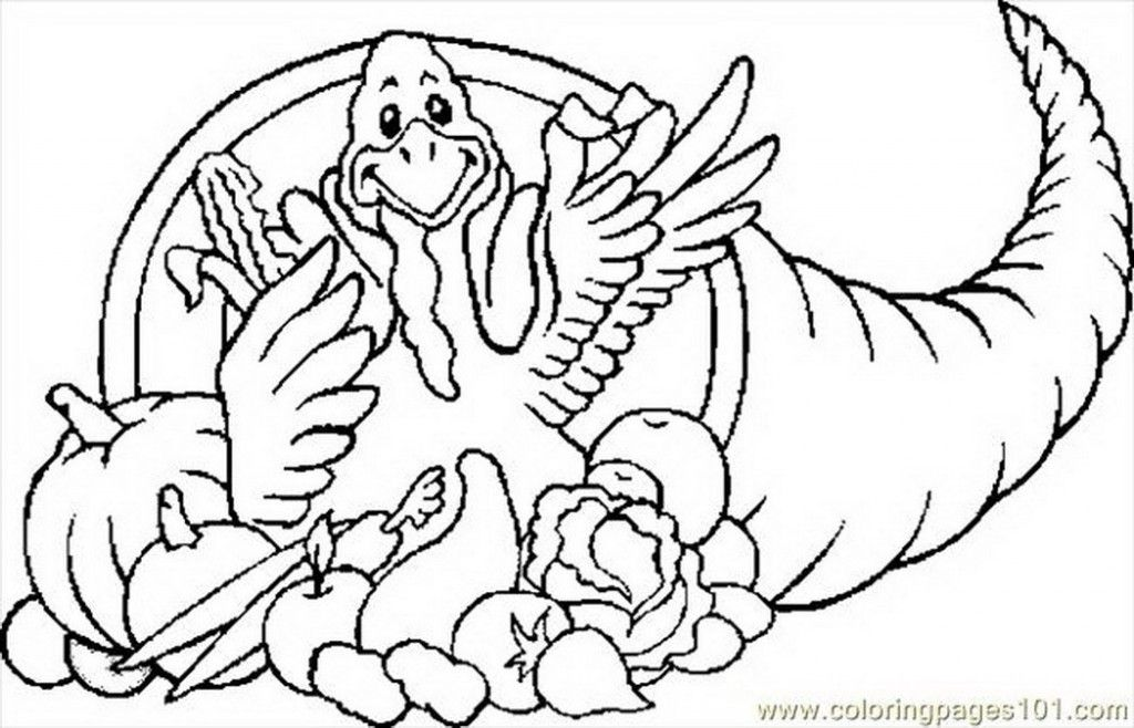 Coloring Pages Cornucopia Turkey Holidays Thanksgiving Day Color - new thanksgiving coloring pages for church