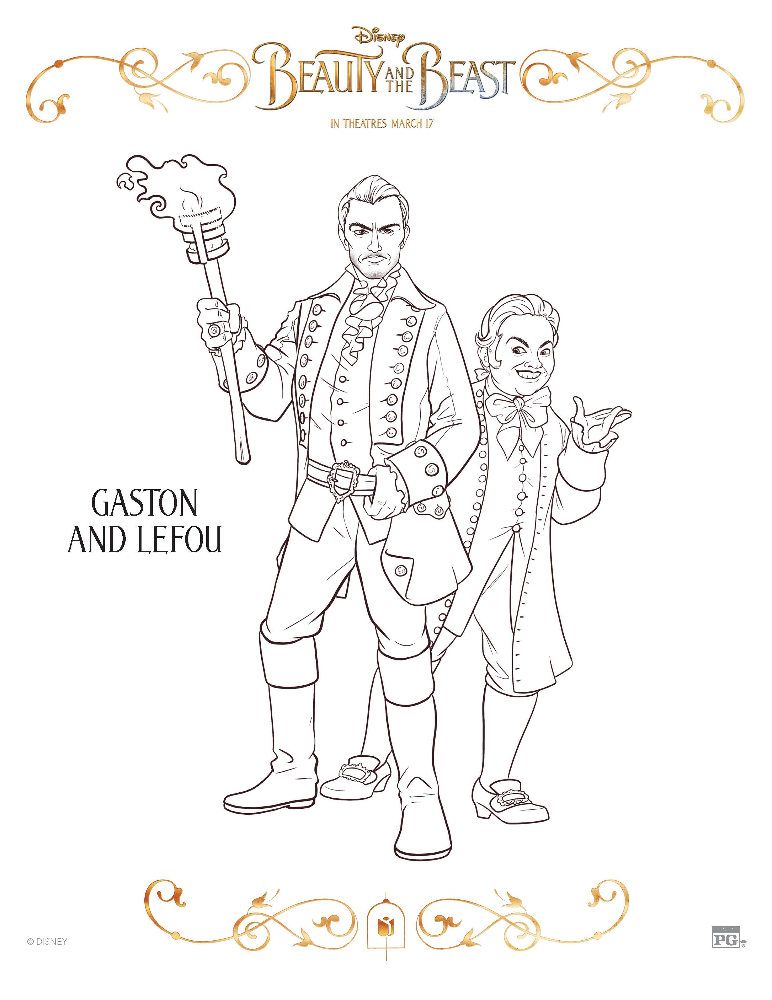 Disney Beauty And The Beast Gaston Lefou Coloring Page