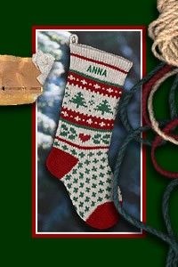 Classic Knit Wool Personalized Christmas Stocking by annieswoolens