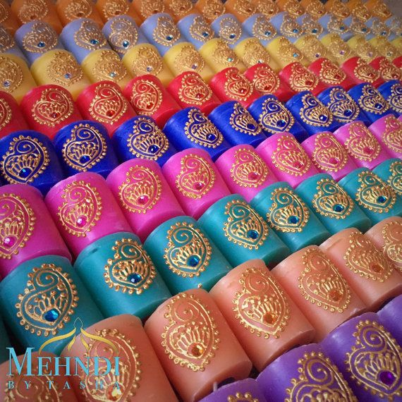 Mehndi Party Bags : Mini coloured scented candles with organza bag by