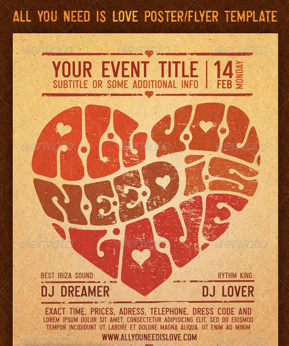 Retro Flyer Poster Vol 6 This Photoshop Flyer Template Was 11x17