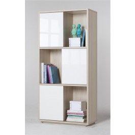 Libreria design L 90 cm 6 vani con ante scorrevoli Frassino coimbra ...
