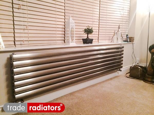 Brushed Chrome Bathroom Radiators: 415x1500 Deco Brushed Stainless Steel
