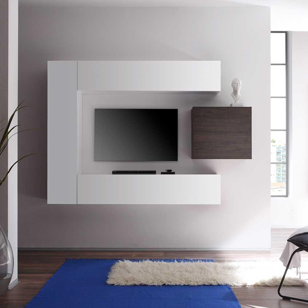Hochglanz Wohnwand In Weiß Wenge Hängend (4 Teilig) Wohnzimmerschrank, Wohnwand,anbauwand