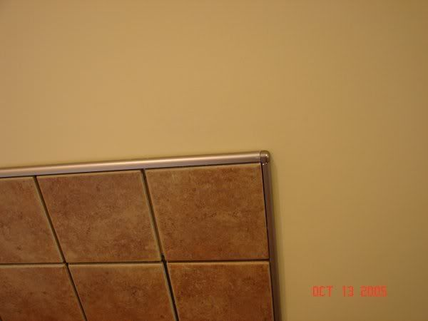 Chrome Schluter edge to finish tile instead of bullnose Bathroom